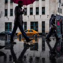 the yellow taxi and the red umbrella